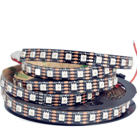 Світлодіодна стрічка RGB SMD5050, SK9822 чорна, з управлінням, IP20, 5 В, 60 діодів м, 5 м